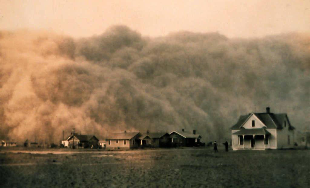 Sepia dust storm covering houses in Texas