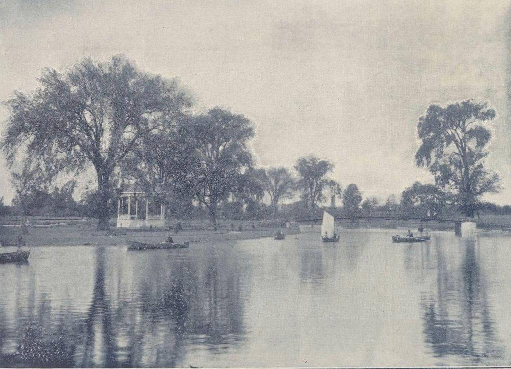 Black and white photo of Victoria Park, Kitchener