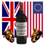 """Publicity image for """"The Devil's Disciple"""" at KWLT, featuring the Union Jack, the Betsy Ross flag, a wine bottle, and the comedy/tragedy masks."""