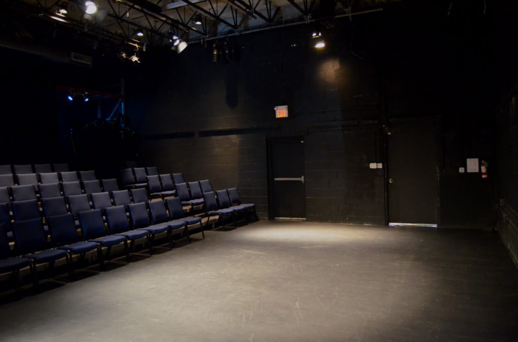 Our lit but empty stage